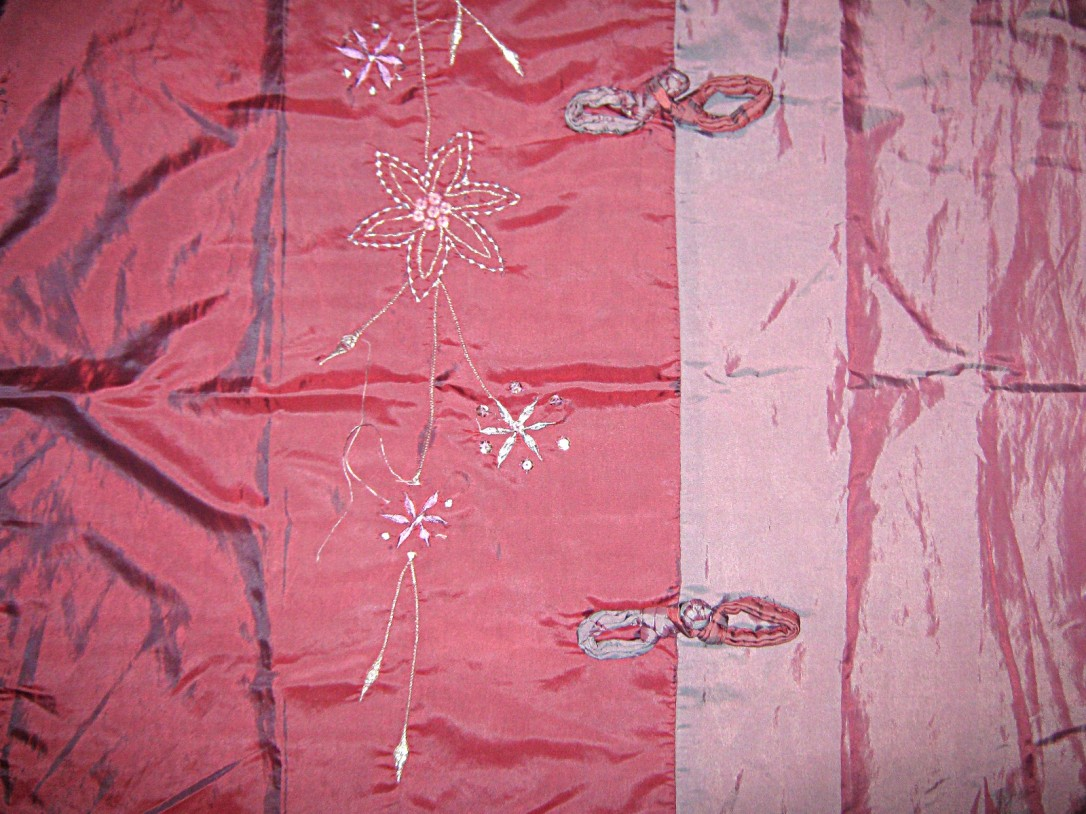 Blue-shot-pink-satin-2-shade-floral-embroidered-decorative-knots