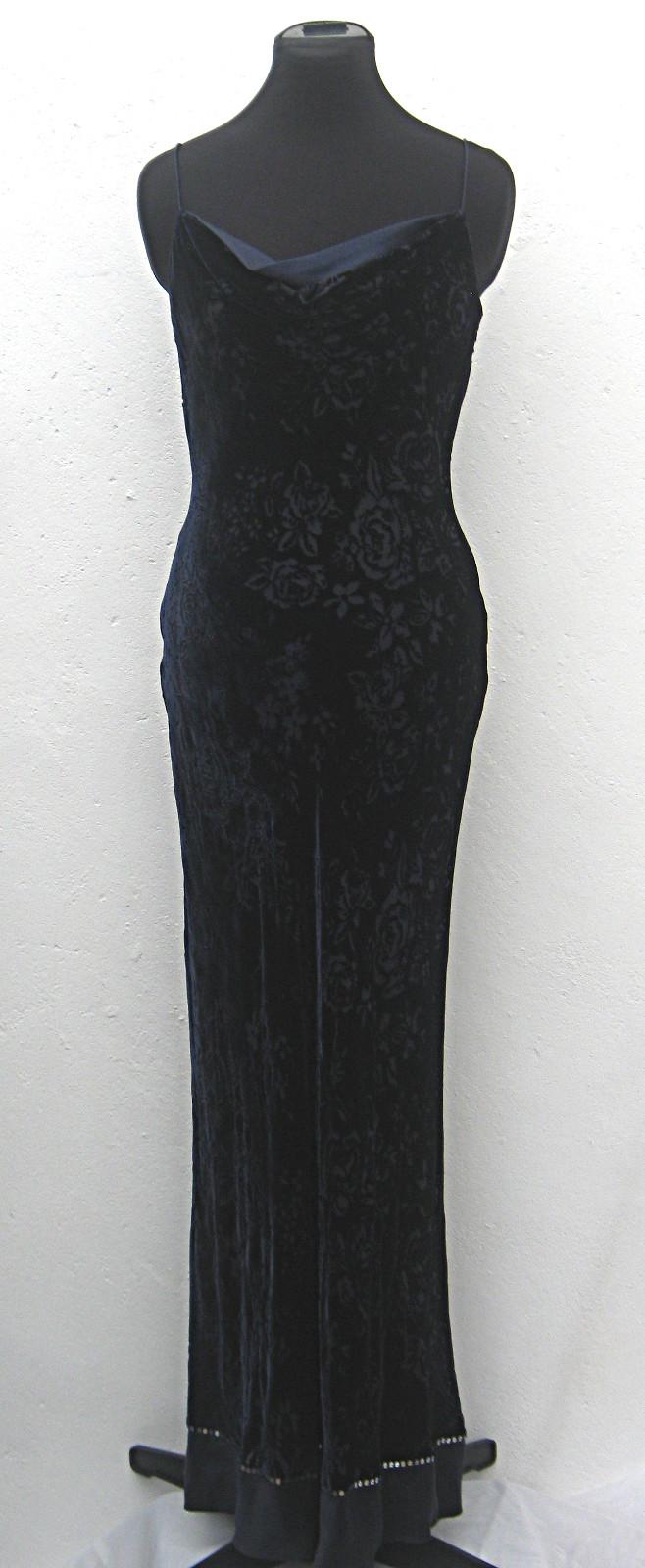 Floor-length-navy-velvet-floral-devoré-strappy-evening-dress