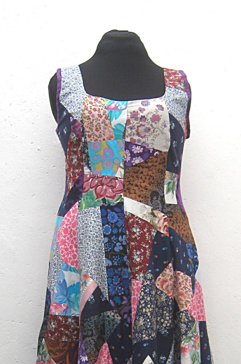 Handmade-full-length-patchwork-princess-line-flare-dress-bodice-closeup