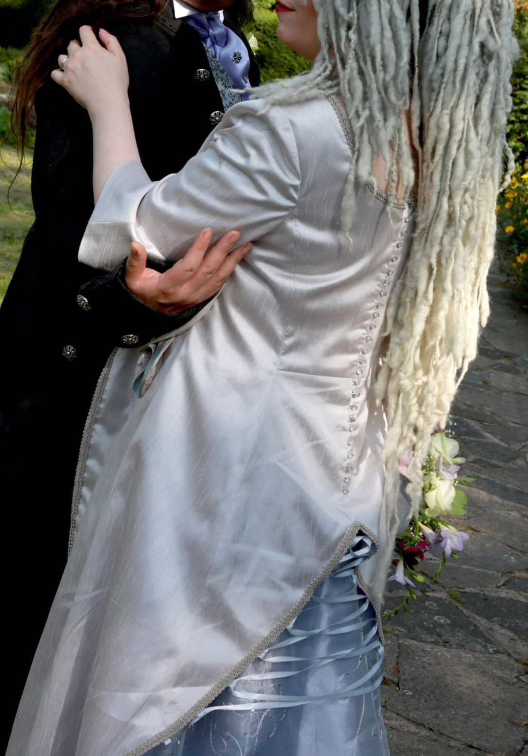 Long-pale-grey-silver-train-medieval-wedding-dress-back-detail