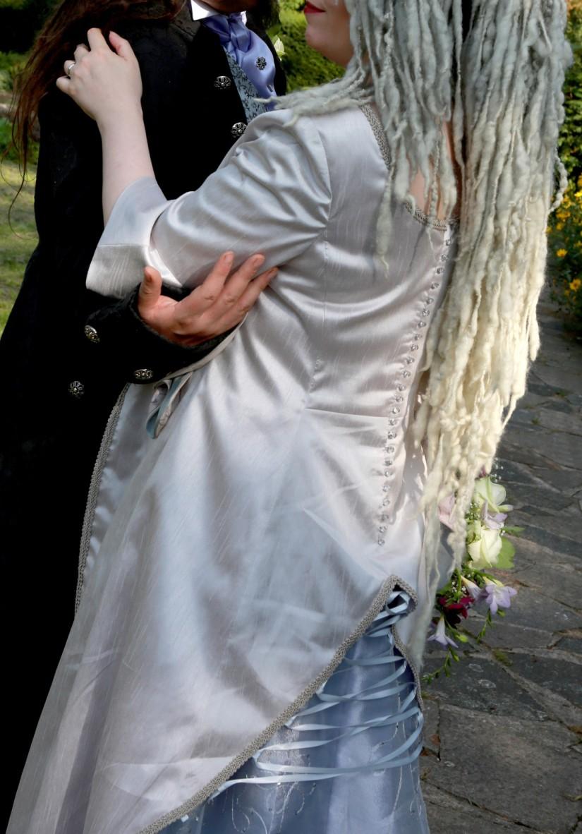 Long-pale-grey-silver-train-medieval-wedding-dress-back-detail