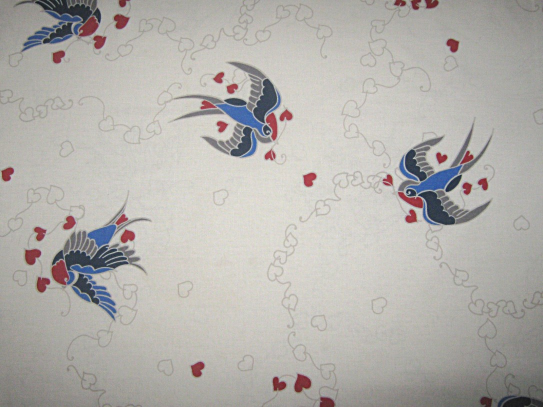 White-grey-heart-pattern-red-blue-birds-polycotton