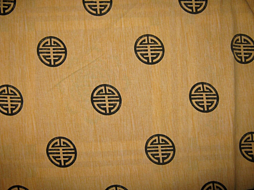 Yellow-polycotton-black-Chinese-blessing-symbols