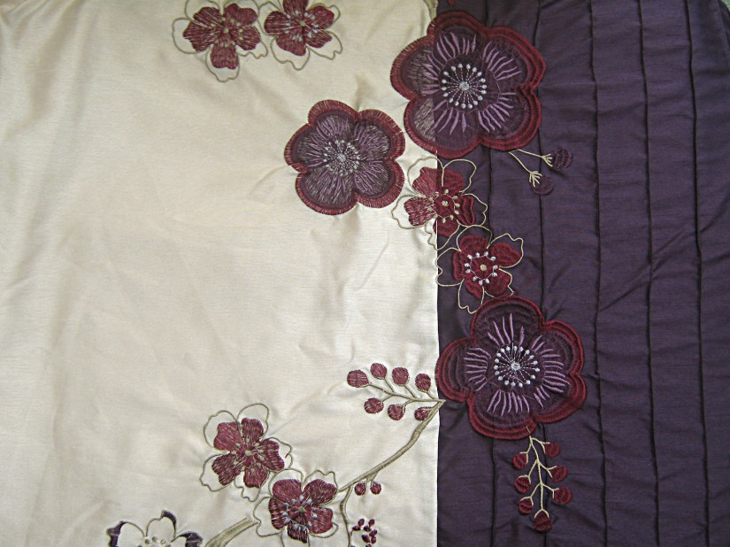 Champagne-dark-purple-floral-embroidered-dupion-effect