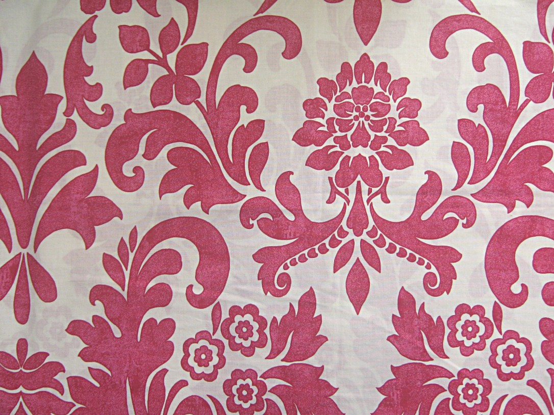 Cream-hot-pink-abstract-floral-polycotton