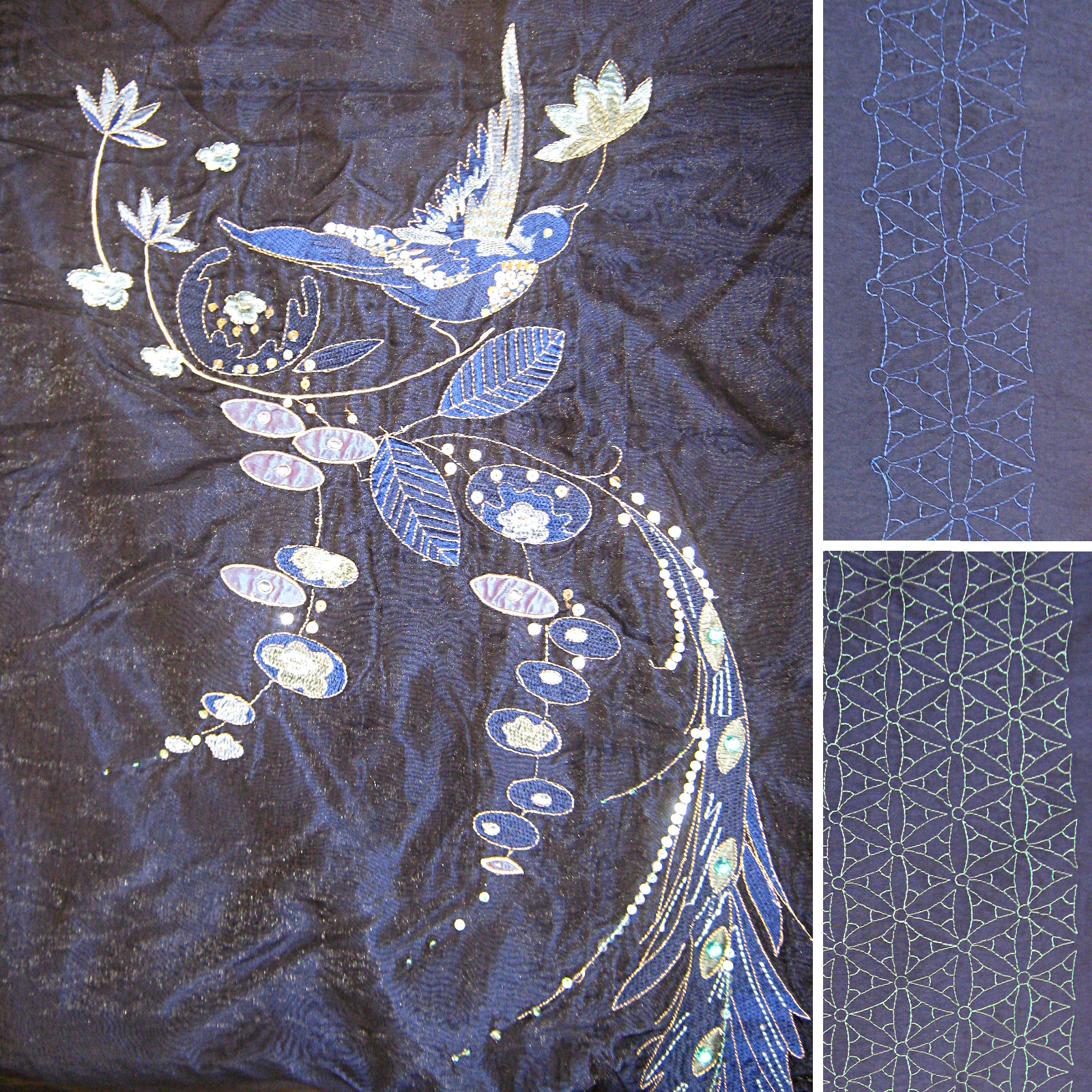 Black-shot-blue-satin-geometric-embroidery-with-floral-bird-embroidered-voile-panel