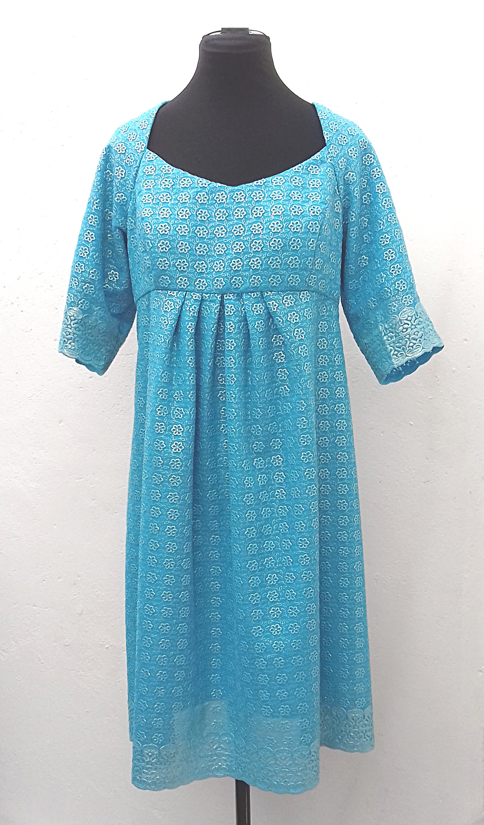 Calf-length-sky-blue-floral-embroidered-sheer-empire-line-mid-sleeved-dress