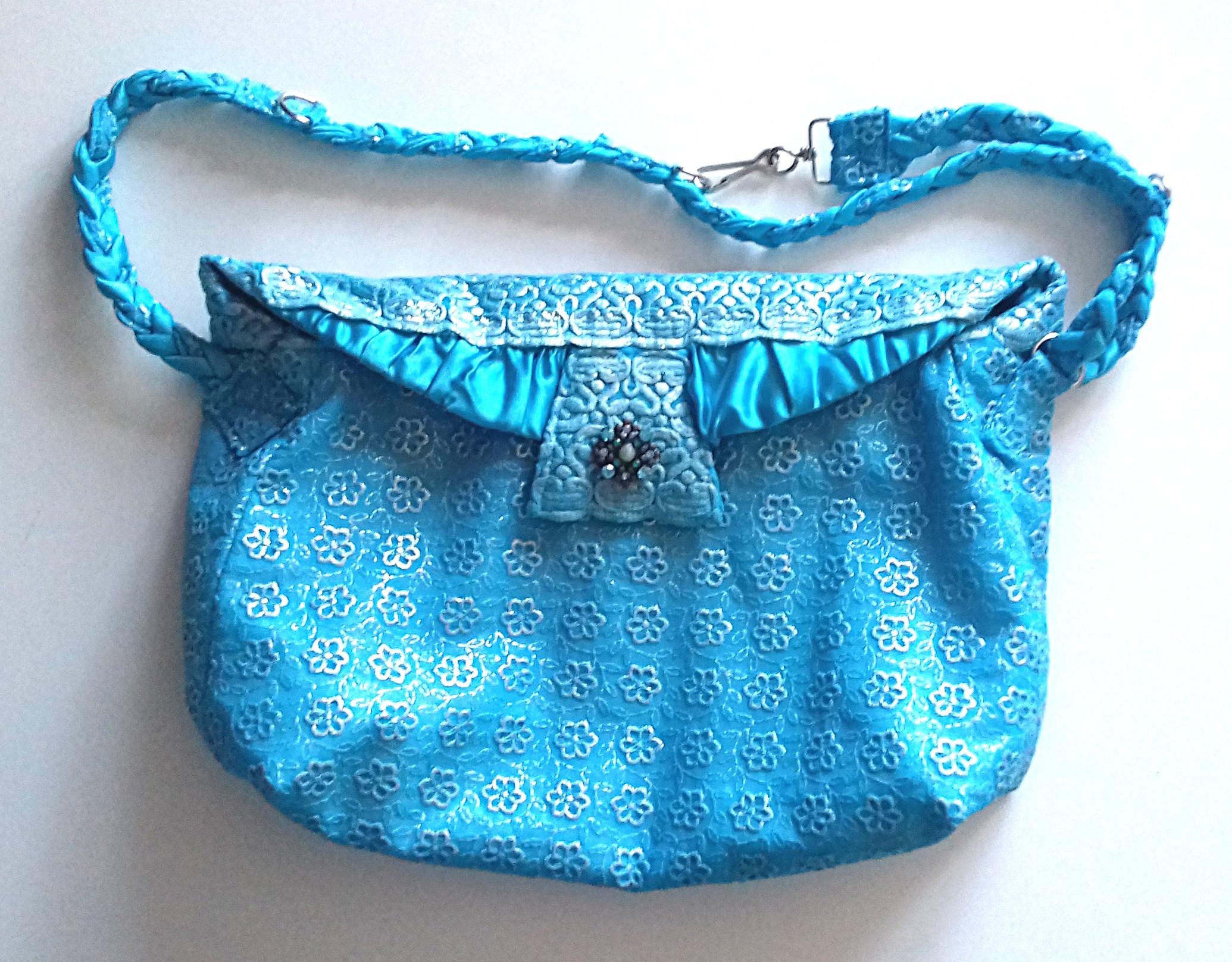 Sky-blue-floral-embroidered-sheer-and-satin-dressy-handbag