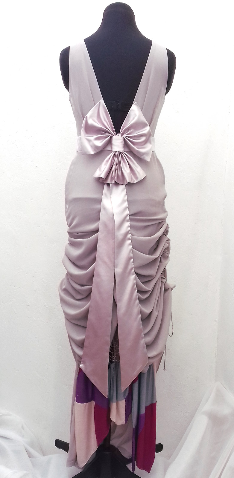 Floor-length-lilac-pink-convertible-sleeveless-boat-neck-prom-dress-size-8-back-ruched